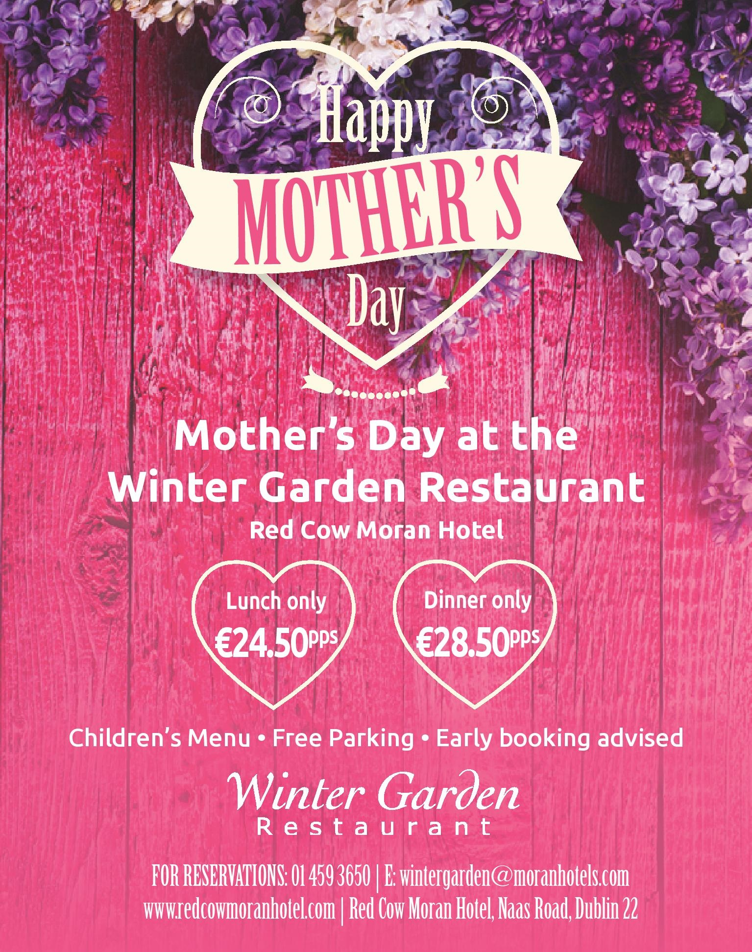 Mothers Day At The Red Cow Moran Hotel Moran Hotels Ireland Dublin